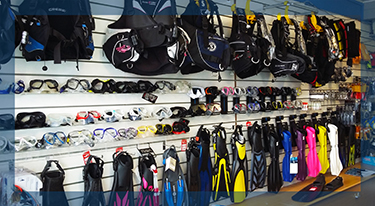 Shop BCD and Fins wall