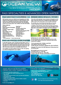 Ocean View PADI Specialty and Advanced courses