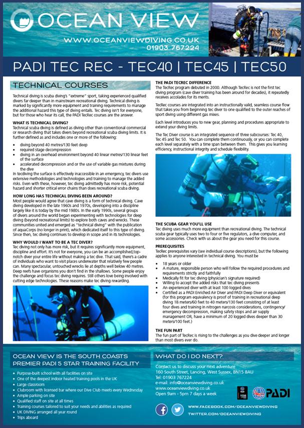 Ocean View TEC courses