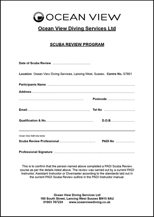 Ocean View Scuba Review Form
