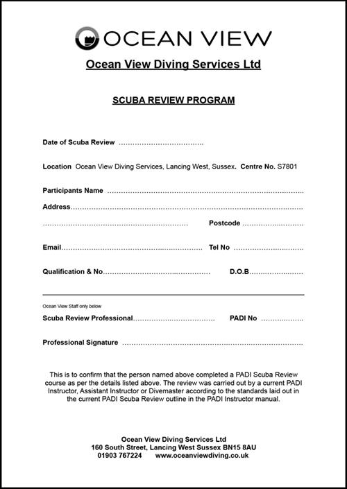 Ocean View Scuba Review Form