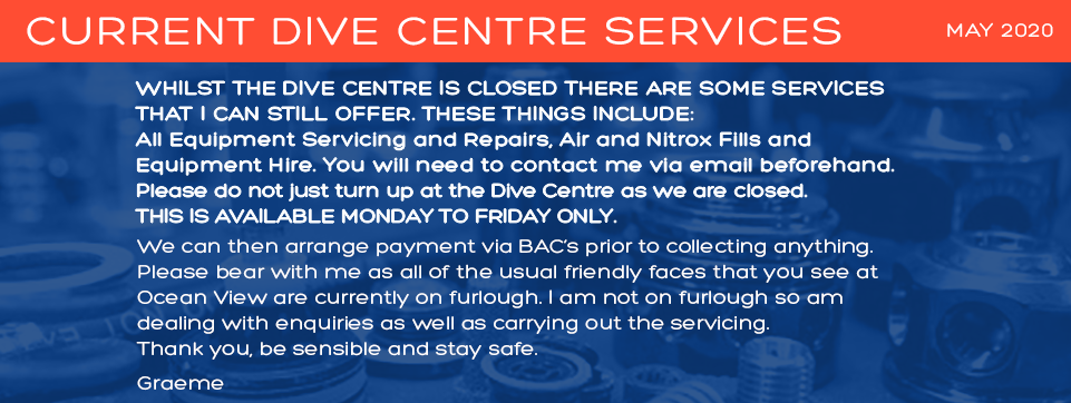 Dive Centre Services Monday to Friday